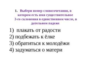 Выбери номер словосочетания, в котором есть имя существительное 3-го склонени