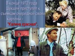 """В конце 1972 года Шукшин приступил к съемкам очередной своей картины - """"Калин"""