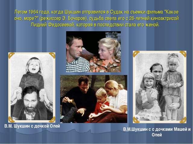 """Летом 1964 года, когда Шукшин отправился в Судак на съемки фильма """"Какое оно,..."""