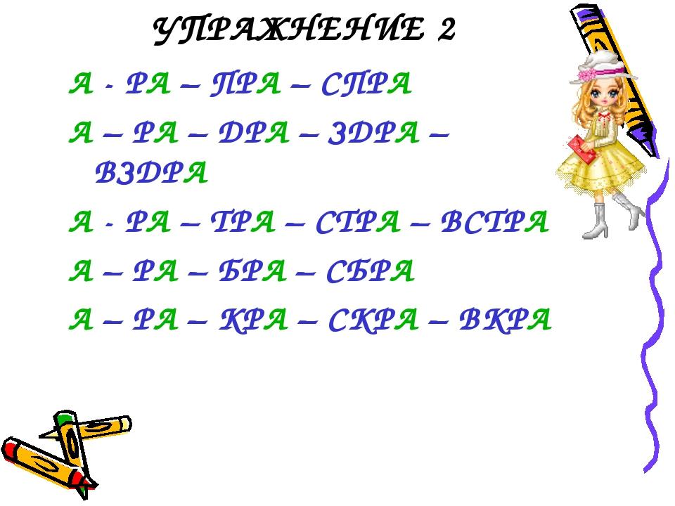 УПРАЖНЕНИЕ 2 А - РА – ПРА – СПРА А – РА – ДРА – ЗДРА – ВЗДРА А - РА – ТРА – С...