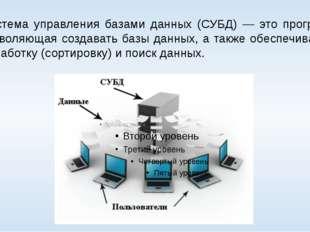 Система управления базами данных (СУБД) — это программа, позволяющая создават