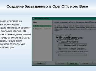 Создание базы данных в OpenOffice.org Base Создание новой базы данных происхо