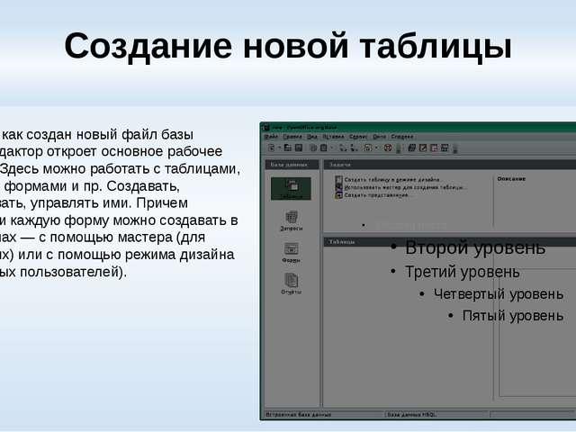 Создание новой таблицы После того как создан новый файл базы данных, редактор...