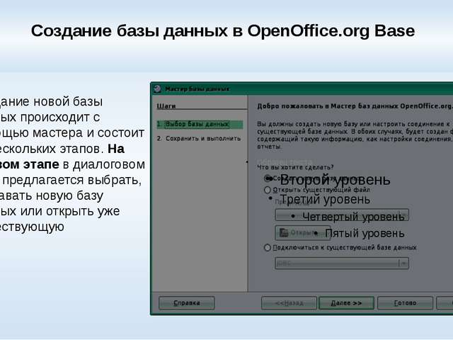Создание базы данных в OpenOffice.org Base Создание новой базы данных происхо...