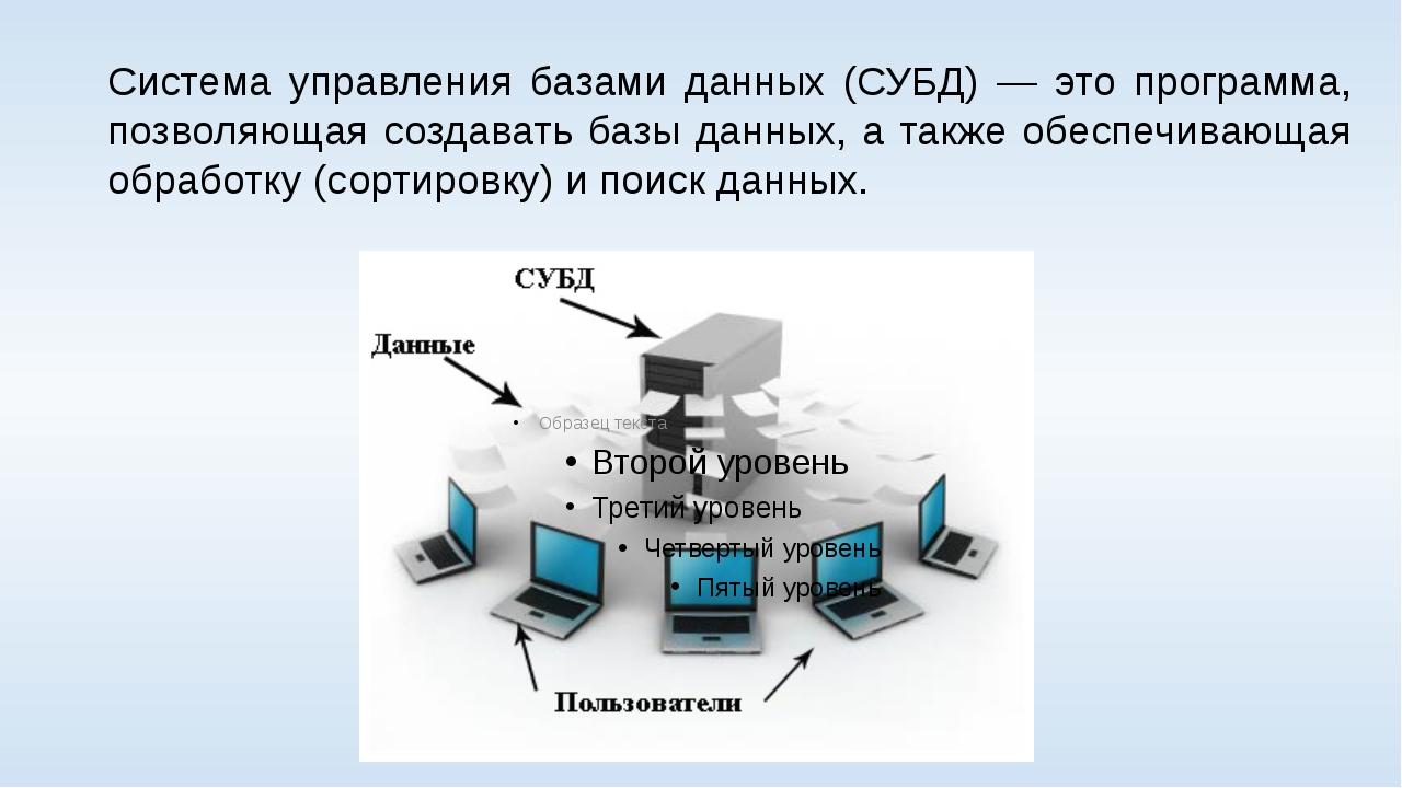 Система управления базами данных (СУБД) — это программа, позволяющая создават...