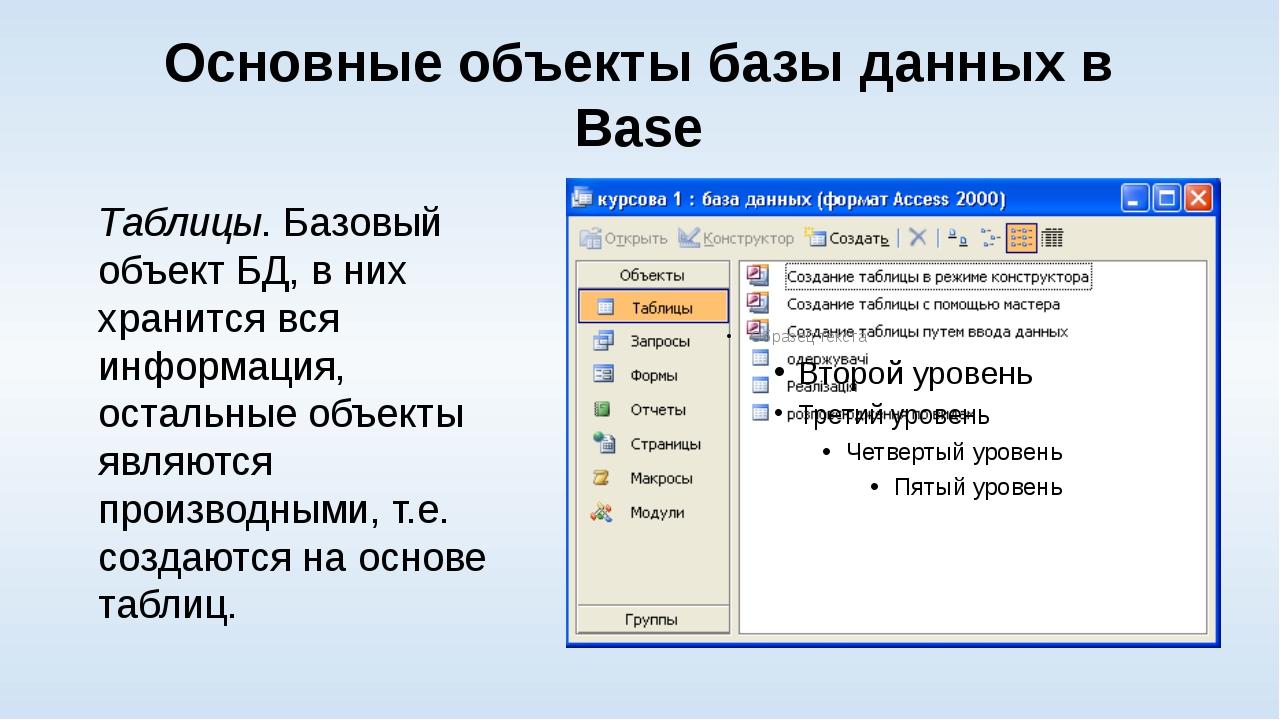 Основные объекты базы данных в Base Таблицы. Базовый объект БД, в них хранитс...