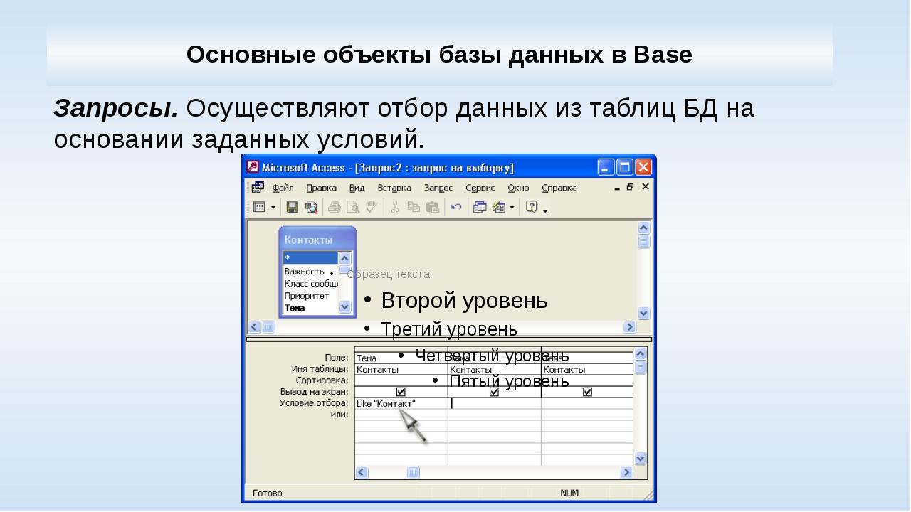 Основные объекты базы данных в Base Запросы.Осуществляют отбор данных из таб...