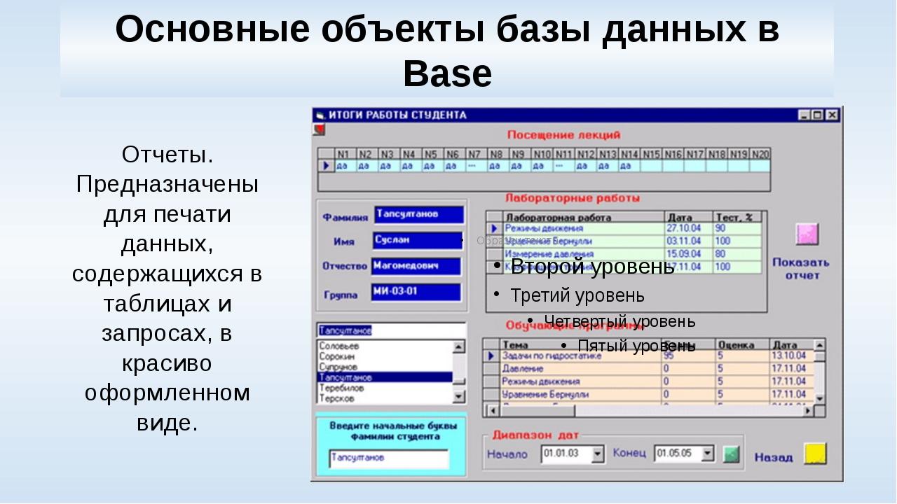 Основные объекты базы данных в Base Отчеты. Предназначены для печати данных,...