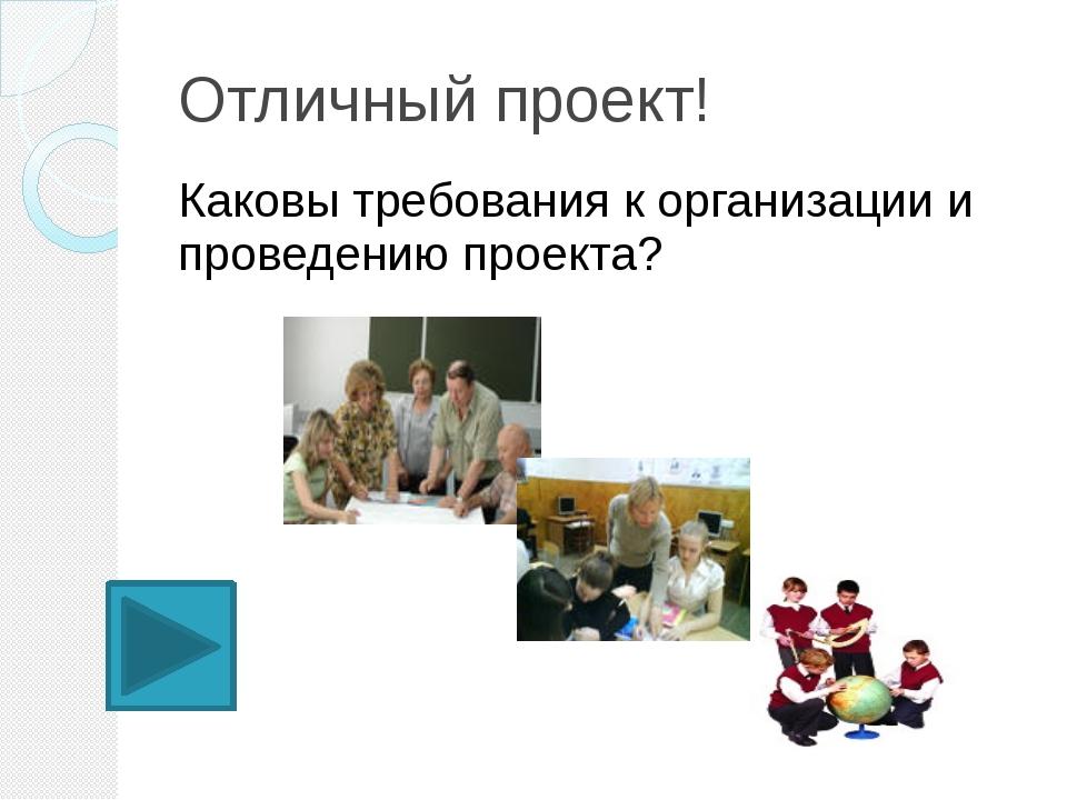 Отличный проект! Каковы требования к организации и проведению проекта?