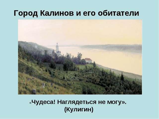Город Калинов и его обитатели «Чудеса! Наглядеться не могу». (Кулигин)