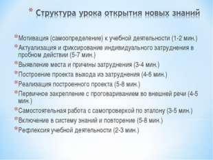Мотивация (самоопределение) к учебной деятельности (1-2 мин.) Актуализация и