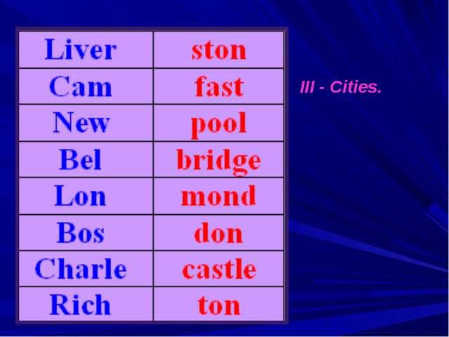 III - Cities.