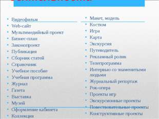 Формы проектной деятельности Видеофильм Web-сайт Мультимедийный проект Бизнес