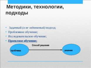 Методики, технологии, подходы Задачный (а не заданиевый) подход; Проблемное