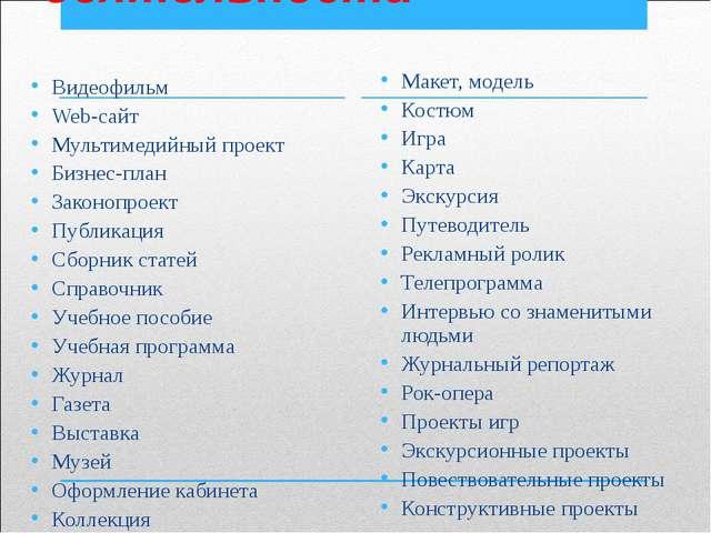Формы проектной деятельности Видеофильм Web-сайт Мультимедийный проект Бизнес...