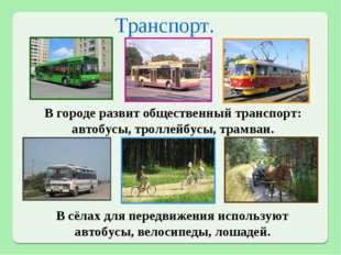 Транспорт. В городе развит общественный транспорт: автобусы, троллейбусы, тра