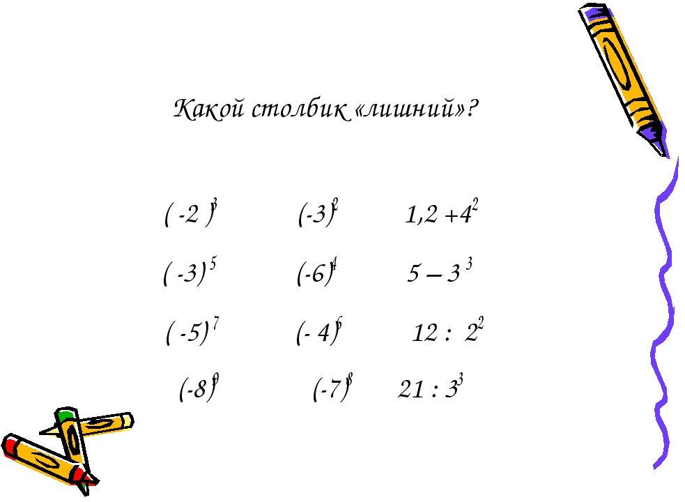 Какой столбик «лишний»? ( -2 )3 (-3)2 1,2 +42 ( -3) 5 (-6)4 5 – 3 3 ( -5) 7 (...