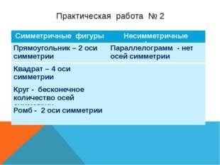 Практическая работа № 2 Симметричные фигуры Несимметричныефигуры Прямоугольни