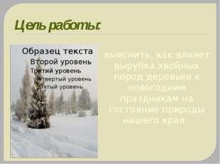 Цель работы: выяснить, как влияет вырубка хвойных пород деревьев к новогодним