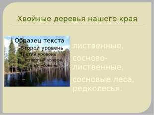 Хвойные деревья нашего края лиственные, сосново-лиственные, сосновые леса, ре