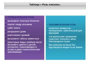 Таблица « Роль плесени». ОТРИЦАТЕЛЬНАЯ РОЛЬ вызывают опасные болезни портят п