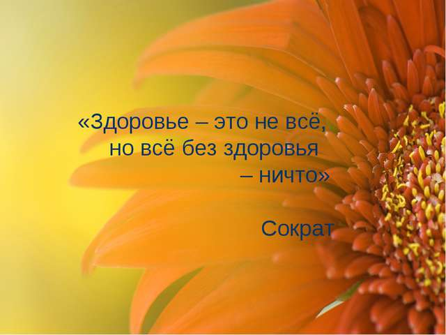 «Здоровье – это не всё, но всё без здоровья – ничто» Сократ