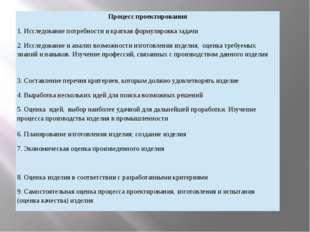Процесс проектирования 1. Исследование потребности и краткая формулировка зад