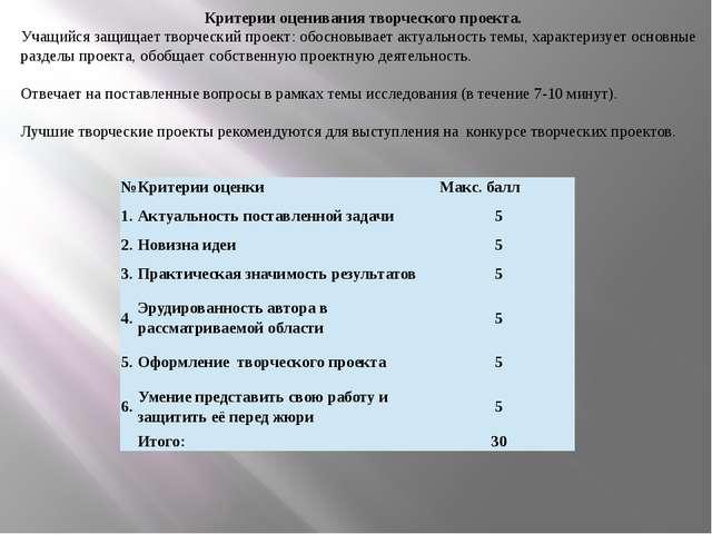 Критерии оценивания творческого проекта. Учащийся защищает творческий проект:...