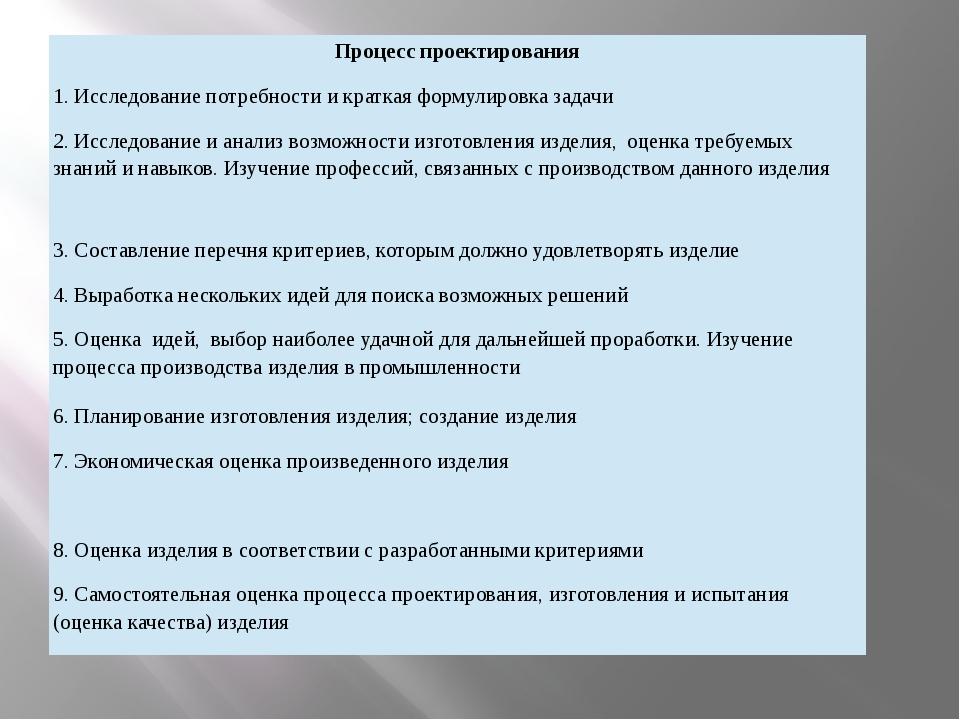 Процесс проектирования 1. Исследование потребности и краткая формулировка зад...