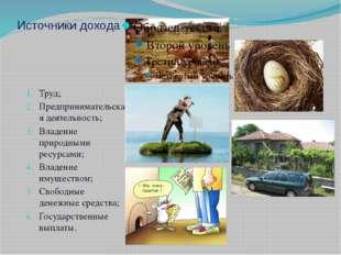 Источники дохода Труд; Предпринимательская деятельность; Владение природными
