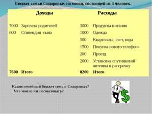 Бюджет семьи Сидоровых на месяц, состоящей из 3 человек. Каков семейный бюдж