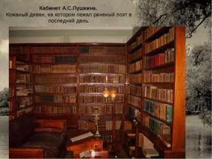 Кабинет А.С.Пушкина. Кожаный диван, на котором лежал раненый поэт в последний