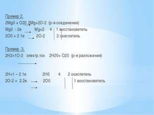 Пример 2. 2Mg0 + O20 2Mg+2О-2 (р-я соединения) Мg0 - 2е Мg+2 4 1 восстановит