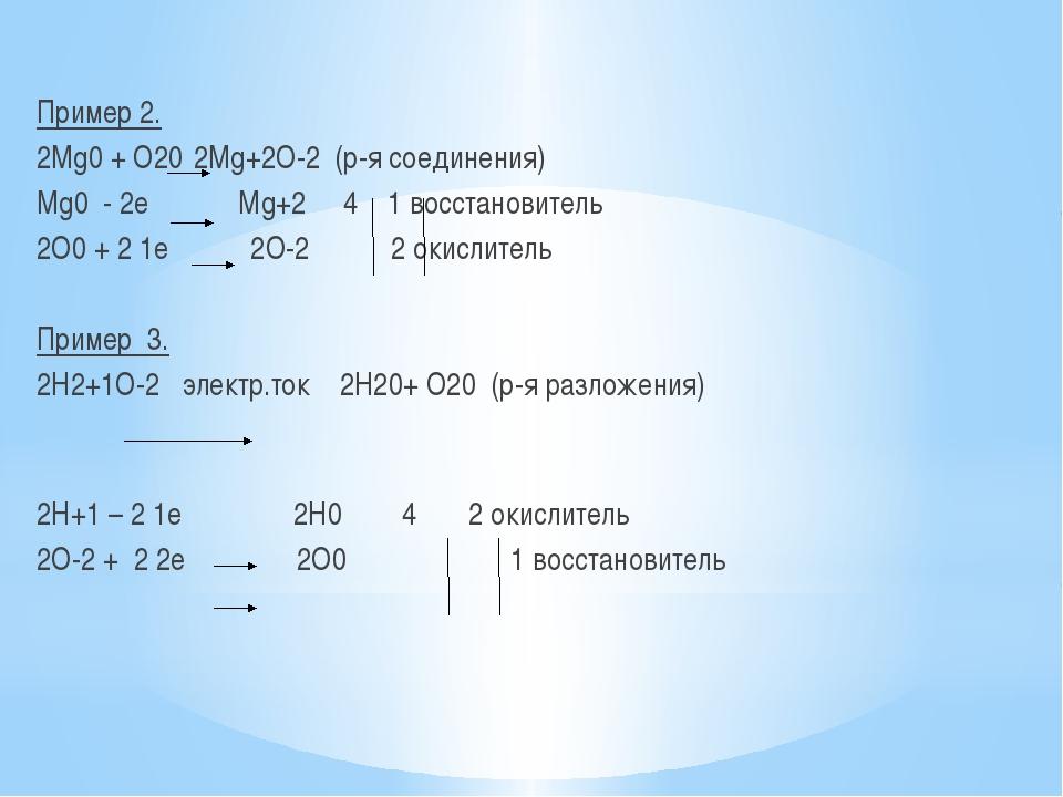 Пример 2. 2Mg0 + O20 2Mg+2О-2 (р-я соединения) Мg0 - 2е Мg+2 4 1 восстановит...