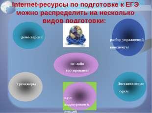Internet-ресурсы по подготовке к ЕГЭ можно распределить на несколько видов по