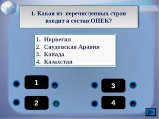 1 - - - + 2 3 4 1. Какая из перечисленных стран входит в состав ОПЕК?