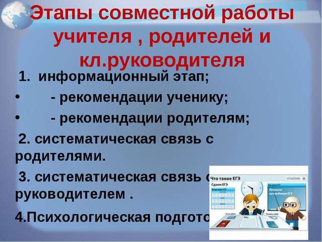 Этапы совместной работы учителя , родителей и кл.руководителя 1. информационн...