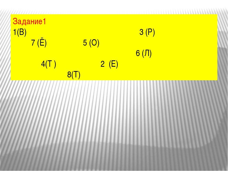 Задание1 1(В) 3 (Р) 7 (Ё) 5 (О) 6 (Л) 4(Т ) 2 (Е) 8(Т)