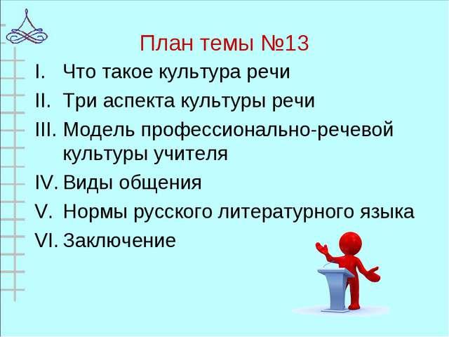 План темы №13 Что такое культура речи Три аспекта культуры речи Модель профес...