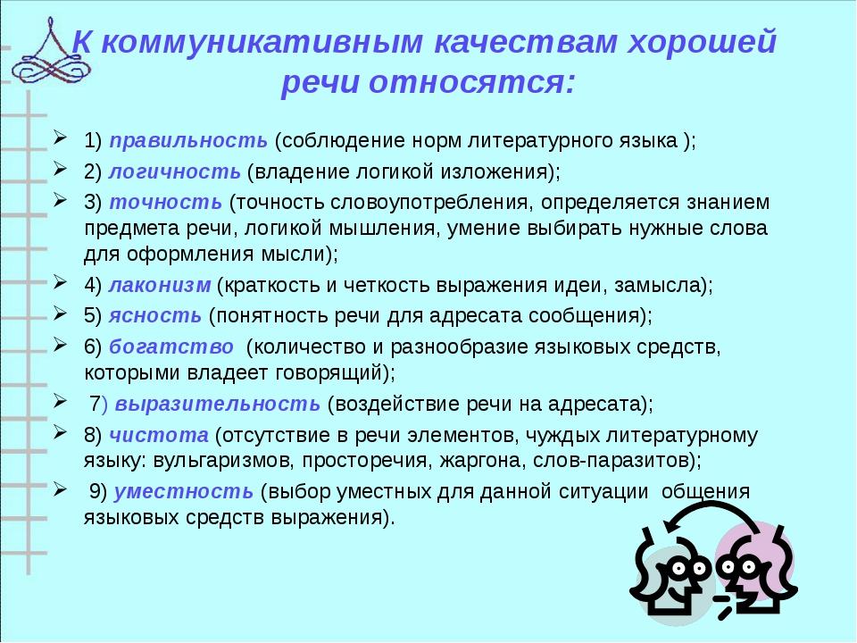 К коммуникативным качествам хорошей речи относятся: 1) правильность (соблюден...
