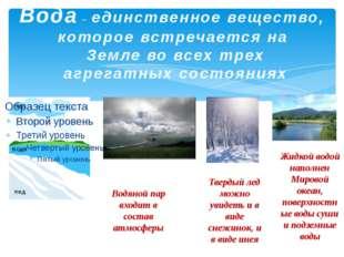 Жидкой водой наполнен Мировой океан, поверхностные воды суши и подземные вод