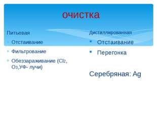 Питьевая Отстаивание Фильтрование Обеззараживание (Cl2, O3,УФ- лучи) Дистилл