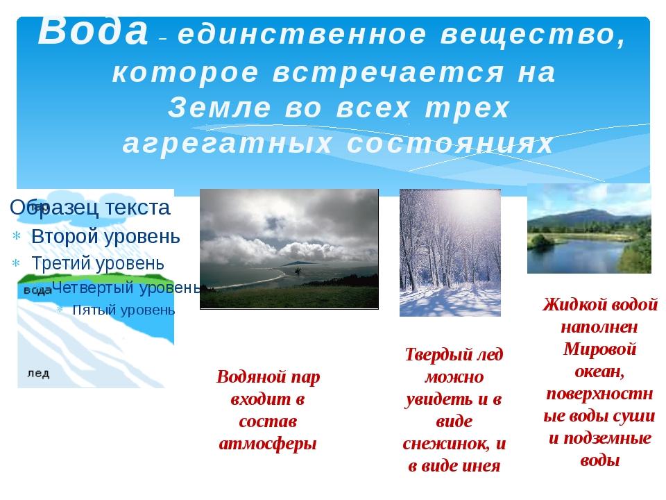Жидкой водой наполнен Мировой океан, поверхностные воды суши и подземные вод...