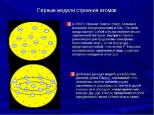 Первые модели строения атомов в 1902г. Уильям Томсон (лорд Кельвин) высказал