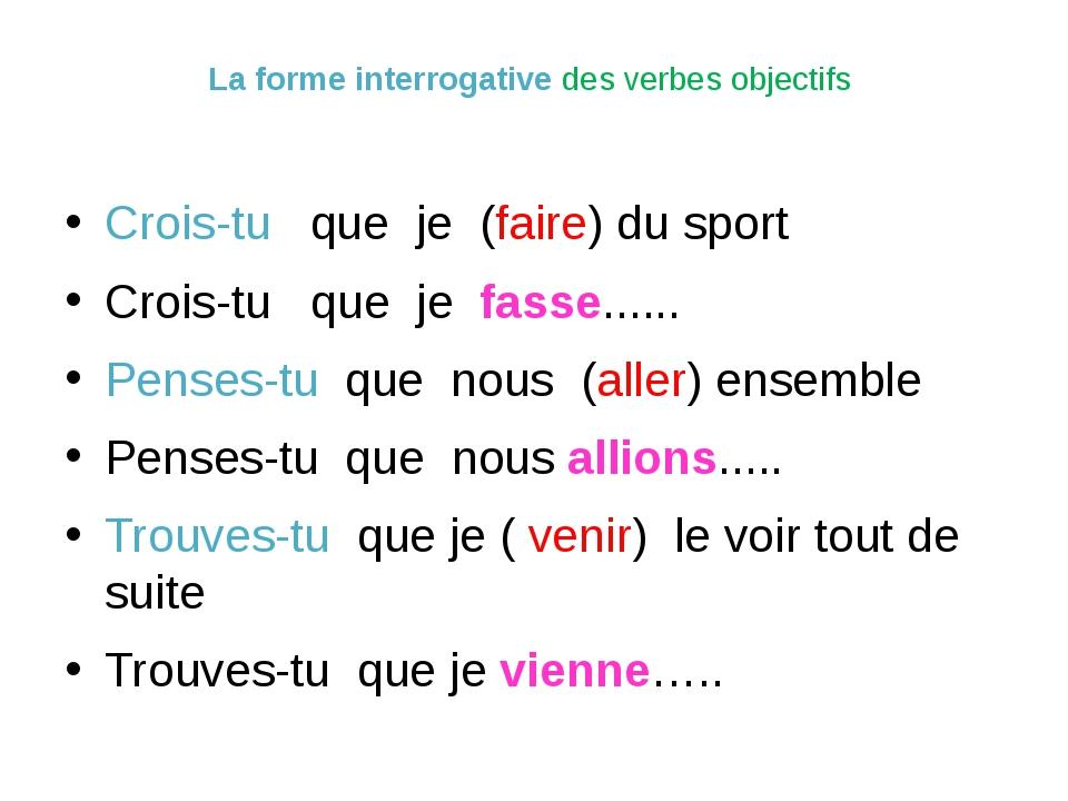 La forme interrogative des verbes objectifs Crois-tu que je (faire) du sport...