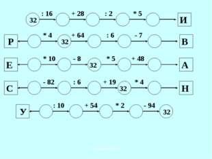 32 : 16 + 28 : 2 * 5 И * 4 + 64 : 6 - 7 В 32 Р * 10 - 8 * 5 + 48 32 Е А - 82