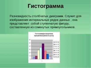 Гистограмма Разновидность столбчатых диаграмм. Служит для изображения интерв