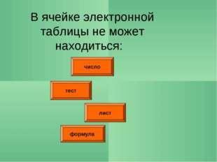 число тест лист В ячейке электронной таблицы не может находиться: формула