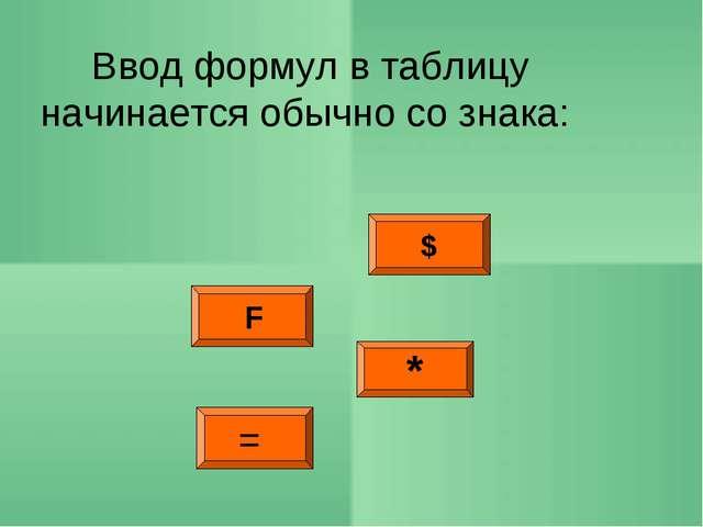 $ F * Ввод формул в таблицу начинается обычно со знака: =