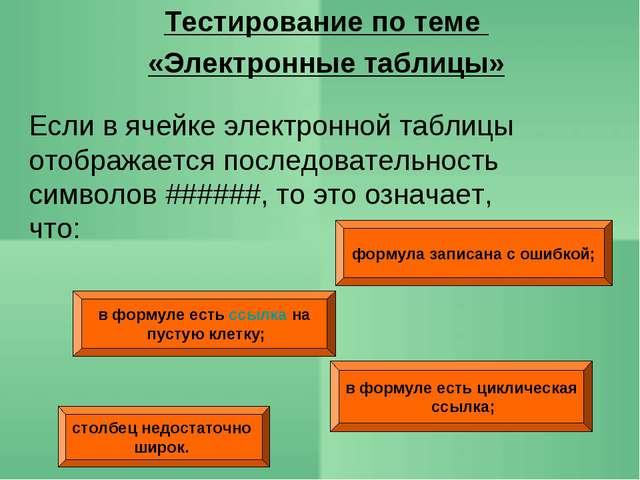 Тестирование по теме «Электронные таблицы» формула записана с ошибкой; в форм...
